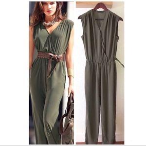 Zara Olive Green Sleeveless Jumpsuit Elastic Waist